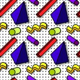 Memphis Pattern 80s. Pattern in the style of the 80`s from geometric figures, against the background of black dots, in the shadow, volumetric figures, memphis royalty free illustration