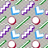 Pattern memphis 80s. Pattern in the style of the 80`s Memphis geometric figures on the background of a zigzag stock illustration