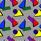 Pattern memphis 80s. Pattern in the style of the 80`s, a memphis style, from triangles, squares, against the backdrop of black waves royalty free illustration