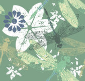 Pattern with stylish dragonfly's and flowers Royalty Free Stock Images