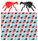 Pattern with stylized fleas Stock Image