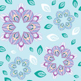 Pattern stylized flower petals. Abstract floral seamless pattern stylized flower petals on a blue background with scattered leaves Royalty Free Stock Photography