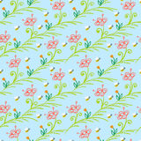 Pattern with stylized flowers and bees Stock Photo