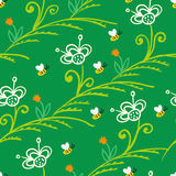 Pattern with stylized flowers and bees Royalty Free Stock Photos