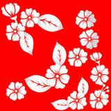 Pattern of stylized flowers and leaves of bright blossoms. On a bright red background stock illustration