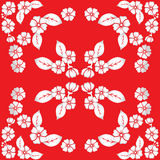 Pattern of stylized flowers and leaves of bright blossoms Royalty Free Stock Photography