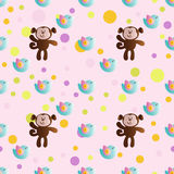 Pattern with stylized flowers. Seamless pattern with cartoon cute toy baby monkey, bird and Circles on a light pink background Royalty Free Stock Images