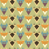 Pattern with stylized fox, owl, cat Royalty Free Stock Image
