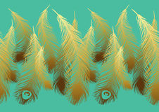 Pattern with stylized gold feathers of peacock Royalty Free Stock Photo