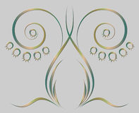 Pattern of stylized lily of the valley. Metal, a convex pattern of stylized lily of the valley Stock Photography