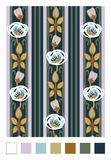 Pattern of stylized rose hips and stripes.Vertical repeating floral ornament in art nouveau style vector illustration