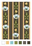 Pattern of stylized rose hips and stripes.Vertical repeating floral ornament in art nouveau style stock illustration