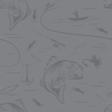 Pattern on the subject of fishing. With fish, boat and. Seamless pattern on the subject of fishing. With fish, boat and bait. Vector Royalty Free Stock Photos