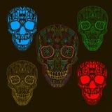 Pattern with sugar skulls. Vector version. Stock Photo