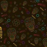 Pattern with sugar skulls. Vector version. Stock Photos