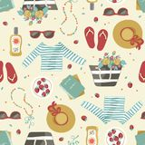 Pattern with summer clothes and accessories. Royalty Free Stock Photo