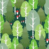 Pattern of the summer forest. Seamless background of the cartoon wood in summer time Royalty Free Stock Photography