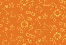 Pattern with summer icons on an orange background Royalty Free Stock Photos