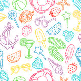 Pattern with summer symbols Stock Images