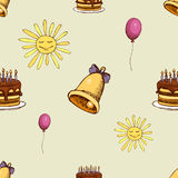 Pattern with sun, bell and cake. Hipster decoration seamless background. Vector illustration Stock Images