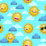 Pattern with sun character Stock Photos