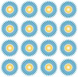 Pattern sun with shine. Design motif with the theme of the sun and its rays with made of the appropriate dot pxel stock illustration
