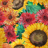 Pattern of sunflowers with gerbera flowers Royalty Free Stock Photography