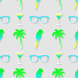 Pattern with sunglasses, cocktail, parrot and palm tree. Royalty Free Stock Image