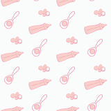Pattern of supplies for newborns. Stock Photo