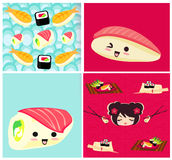 Pattern with sushi Stock Images