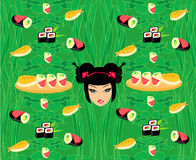 Pattern with sushi Stock Image