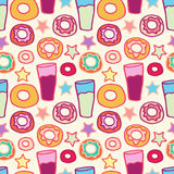 Pattern sweet donuts. Seamless pattern sweet donuts with soda assorted colors Royalty Free Stock Photo