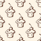 Pattern with sweet fruit cake. Vintage hand drawn seamless pattern with sweet fruit cake Stock Photo