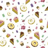 Pattern of sweets, donuts, cakes and marmalade on a white background royalty free illustration