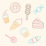 Pattern sweets. Food Icons. Royalty Free Stock Image