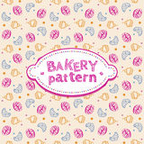 Pattern with sweets and pastries Stock Images