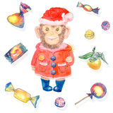 Pattern with sweets and a smiling monkey in a New Year's suit Stock Photography