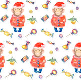 Pattern with sweets and a smiling monkey in a New Years suit an. D Christmas hat on a white background. Merry Christmas and Happy New Year watercolor Stock Image