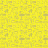 Pattern with symbols of Hanukkah on a yellow background. Celebratory background. Royalty Free Stock Photo