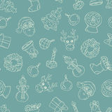 Pattern with symbols of Happy New Year on green color. Vector seamless pattern with hand drawn and symbols of Happy New Year on green color. Background for use vector illustration