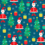 Pattern with symbols of Happy New Year. Vector seamless flat pattern with symbols of Happy New Year and Christmas Day - Santa Claus, Christmas tree, gifts stock illustration