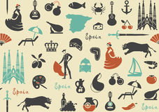 Pattern with symbols of Spain Stock Photos