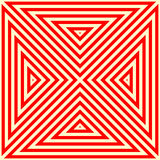 Pattern with symmetric geometric ornament. Striped red white abstract background. Abstract repeated triangles wallpaper. Stock Image