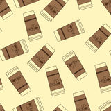 Pattern with take away coffee cups Stock Photography