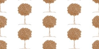 Pattern of tangerine trees in zentangle style Royalty Free Stock Image