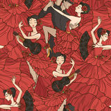 Pattern with tango and flamenco dancers. Royalty Free Stock Images