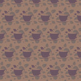 Pattern with tea cups. Vector tiling background Stock Image