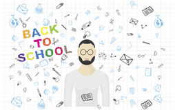 Pattern with teacher and set of drawing  elements for education with endolar accessories. Vector illustration EPS 10 Royalty Free Stock Images