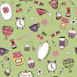 Pattern with teacups teapots sweets and flowers Stock Image