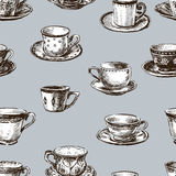 Pattern of the teacups Stock Images